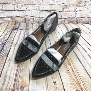 Donald J Pliner black mirrored pointy loafers